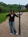 """Cast Iron 75"""" Lamp Post Victorian style - clear glass (E21 OLB)"""
