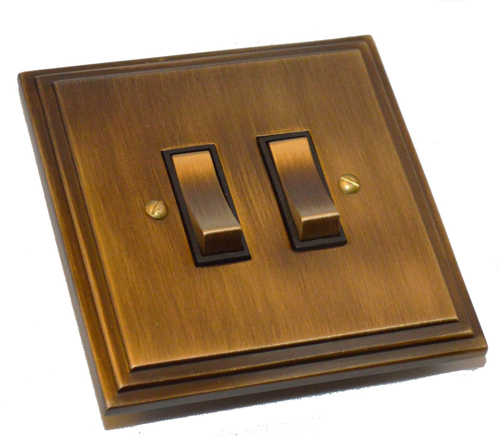 Antique Brass Edwardian 2 Gang Light Switch 20 Amp 2 Way Pst909ab