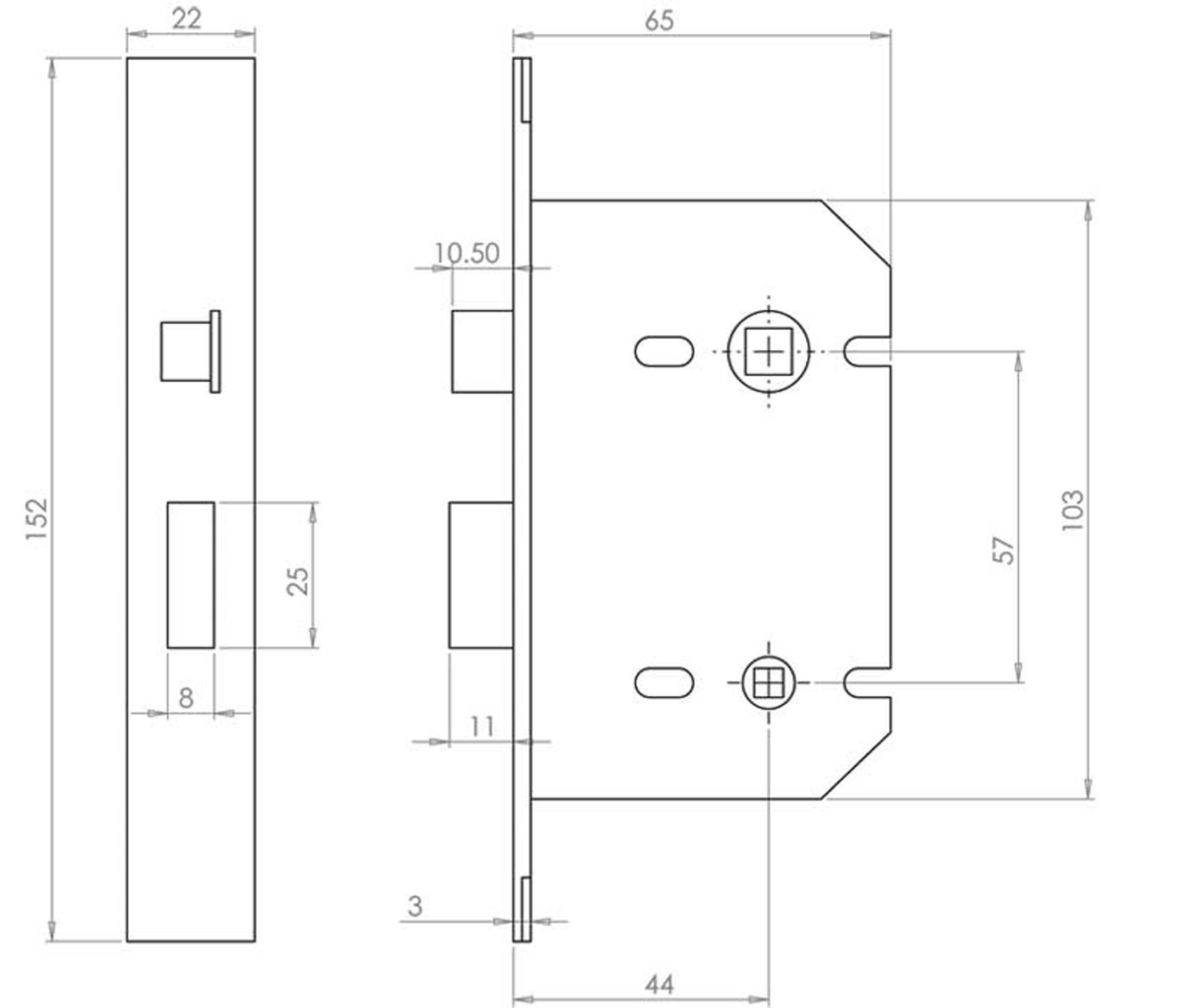 Mat Black Reversible 3 Lever Sash Or Mortise Lock 63mm 2 1 Diagram Description