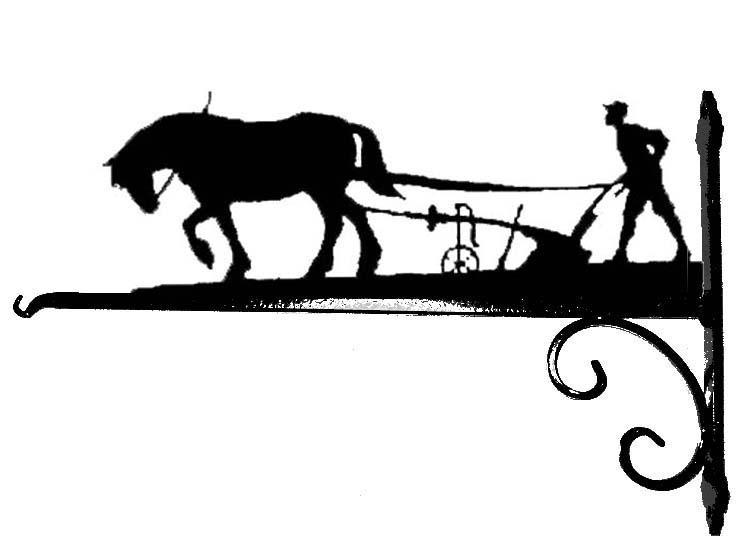 Weathervanes >> Shire Horse & Plough Hanging Basket Bracket